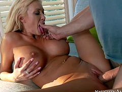 Buxom blonde Summer Brielle is a gorgeous lady men cant resit. Big racked bombshell spreads her legs and gets her pussy eaten by her fuck buddy before he makes his love stick disappear in her vagina.