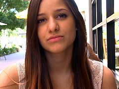 Click to watch this brunette teen, with a cute smile and long hair, while she confess details of her personal life in public doing a reality POV clip.