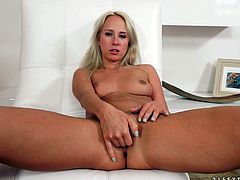 Carla Cox fingers her pussy and gives a terrific blowjob to a lucky man