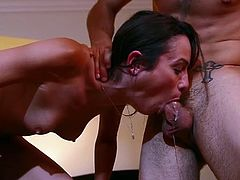 Horny brunette filth Amber Rain blows hard penis furiously