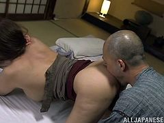 Take a look at this great scene where the busty Japanese babe Ruka Kanae is eaten out by this old man before he masturbates her until she blows his big cock.