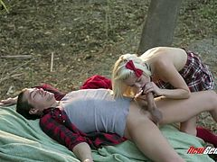 Get a hard dick by watching this blonde tee, with small boobs wearing her college uniform, while she has clothed-forest-sex and has an orgasm.
