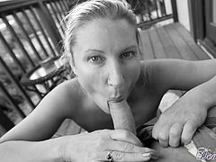 The beautiful Devon Lee gets her precious lips around a big hard cock out in the balcony as she gives the sexiest POV blowjob you could imagine.