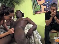 Stunning brunette MILF is surrounded by a bunch of horny brothers from the hood and she went crazy about their big meaty black cocks. Watch her fucking for big facial.