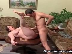 Grandma Fooki brings you a hell of a free porn video where you can see how a chubby brunette mature enjoys a young stud's cock while assuming very hot poses.