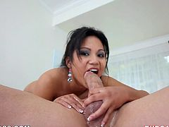 Dark haired seductive chick from Asia likes to suck big meaty cocks. That's her main hobby. Look at this torrid Asian hoe in My XXX Pass porn clip!