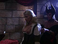 If you like lesbian porn then you need to watch this awesome sex video. Lustful witch Maleficent is sexy not just because of her hat but because she always gets what she wants. She licks sleeping beauty's pussy with great enthusiasm as if her life depends on it.
