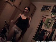 Press play to watch this Russian teen, with small boobs and a nice ass, while she gets banged hard by an amateur fellow and moans loudly.