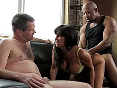 Take a look at this interracial scene where the busty milf Tara Holiday is fucked by a black monster cock as her cuckold man watches her having fun.