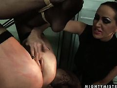 Brunette Mandy Bright with gigantic boobs and Katy Parker make lesbian love