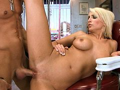 Classy blonde Lexi Swallow rides her lover's dick reverse cowgirl style