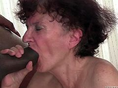 Dark haired old slut with tiny titties posed on knees and grasped that hard penis with passion. She set to blow that BBC ardently. Watch that skilled Russian cock sucker in Fame Digital porn clip!