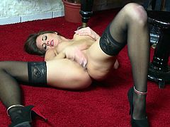 Click to watch this brunette babe, with natural tits wearing nylon stockings, while she touches herself in an erotic solo model video.