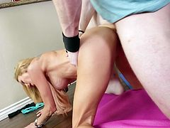 Any lover of sex-starved cougars needs to watch this passionate sex video because Sarah Jessie is one pretty cool whore who loves to fuck. Shapely whore likes to be on top. She rides her lover's dick like a cowgirl on a bucking bronco. Then she takes his hard cock from behind.
