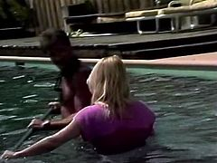 Mustached stud has dirty sex with two fair haired filthy chicks in pool