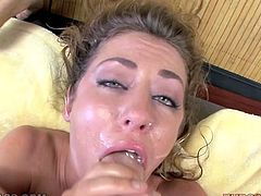 Blond haired dumpy gal Sheena Shaw gets her mouth fucked hard
