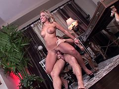 Sexy blonde Aubrey Addams gives a blowjob to Marcus London and lets him eat her shaved twat. After that they fuck in the reverse cowgirl position and seem to be unable to stop.