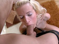 This incredibly spoiled nympho with small tits needs a good hard fuck but first she wants to give her lover a nice blowjob. She sucks his dick like a pro. Then she takes his hard dick from behind.
