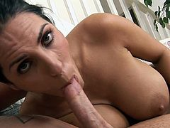 Needy as usual, busty raven amazes with her strong cock sucking skills and tit job moments