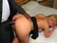 This bootyful blonde loves nothing more than a big black cock. She takes it from behind, and rides, too, because she likes it in every position.