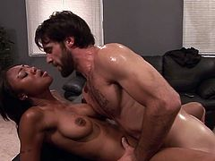 Curvy ebony from Sweet Sinner looks dashing with a big white dong slamming her creamy twat in rough porn event