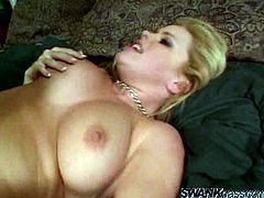 Lovely blonde Alicia Rhodes shows her holes to a dude and lets him play with them. After that the man drills Alicia's pussy and asshole in the reverse cowgirl position and doggy style.