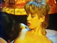 Vintage FFM threesome with two slutty chicks getting banged in turns