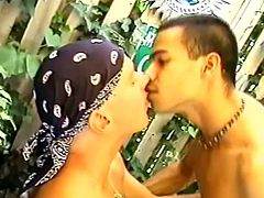 A gay and his neighbour are playing dirty games outdoors. They suck each other's wangs passionately, then have some naughty rear banging.