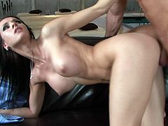 This leggy whore is interested in her neighbor not because he's married but because he has such a nice dick. Horny dude fucks her tight twat in missionary position. Then he fucks her snatch from behind. A bit later they fuck in sideways position.
