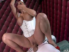 Busty blonde fucked by a big cock in all her holes