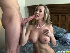 Watch the busty blonde milf Brandi Love ending up with a messy facial after this mommy is fucked by a thick cock in this hardcore scene.
