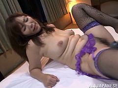 The sexy Asian babe Chisato Shohda enjoys two hard cocks up her precious mouth and her yummy pussy in this rough MMF threesome.