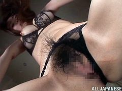 Make sure you see this! An Asian redhead, with a hairy pussy wearing sexy lingerie, touches herself erotically until she has an orgasm.