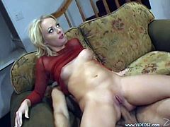 Slutty blonde Melissa Lauren, wearing a fishnet top, is playing dirty games with two men. She sucks their cocks devotedly, then gets sandwiched and facialed.