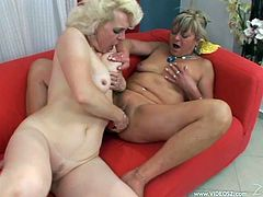 Lustful mature blondes Jane and Mellane are having lesbian fun indoors. They make out and caress each other, then eat each other's shaved twats and play with dildos.