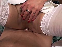Sandy haired dirty lady boy in white lingerie got her thirsting asshole pleased in missionary style by staff cock of her customer. Have a look at that dirty TS copulation in Fame Digital porn video!