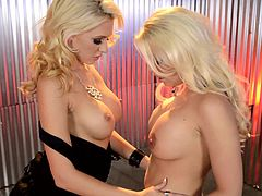 Awesome long-haired glamour blondes Katie Summers and Britney Amber are having a nice time together. The babes caress each other passionately, then fuck each other's vaginas with dildos.