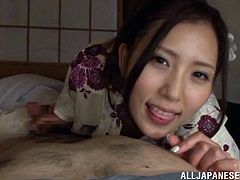 The beautiful Rin Sakuragi enjoys sucking a hard cock and ends up riding it like a slutty cowgirl while she gets taped POV.