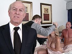 Watch this hardcore scene and see the busty blonde babe Siri sucking on this guy's large cock before being fucked hard.