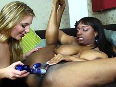 Friends of all races are bound to create sizzling moments like huge tits ebony as as she opens pussy for blonde lesbian.