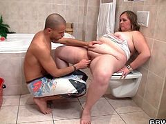 Bald guy and a bbw chick coincidentally met at the bathroom getting something they need, but the two get horny with each other and started making out. Hardcore bbw fuck all the way.