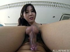 Lewd Japanese teacher Eri Hosaka is having fun with a guy at her work place. She favours the man with a blowjob and they bang in the cowgirl position on the floor.
