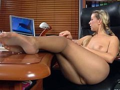 Denis is a sexy office slut and she is about to show her amazing feet to you. Watch as she shows her amazing legs voered with nylon and starts to touch herself.