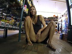 The gorgeous Avia flashes her perfect round ass in the supermarket and goes outside to have her sweet little pussy fingered while she sits on a bench.
