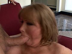Bodacious tattooed mom gives a head to the dude and gets doggyfucked. Then she rides cock on top and gets her twat bonked in a sideways pose until getting facialed.