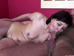 Lascivious old harlot has mutual oral sex with muscle stud and gets her hairy twat fucked in a sideways pose. Then she gets drilled doggystyle and mish until guy cums in her mouth.