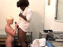Kinky blonde Nora Skyy shows her armpits to a man and lets him eat her ivory snatch. After that they have some naughty interracial rear banging.