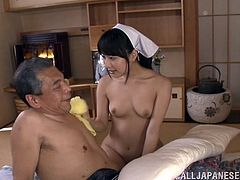 Make sure you have a look at this hot scene where the horny housewife Kana Yume sucks on this old man's hard cock while fingering him.