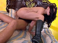 Watch the slutty Eva Angelina end up with a messy facial after being fucked silly by this guy's thick cock in this hardcore scene.