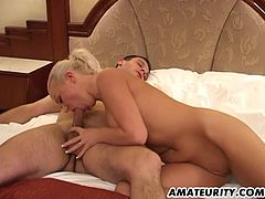 This sexy blonde keeps her high heels on while her man fucks her pussy then drills her deep and hard into her tight ass.